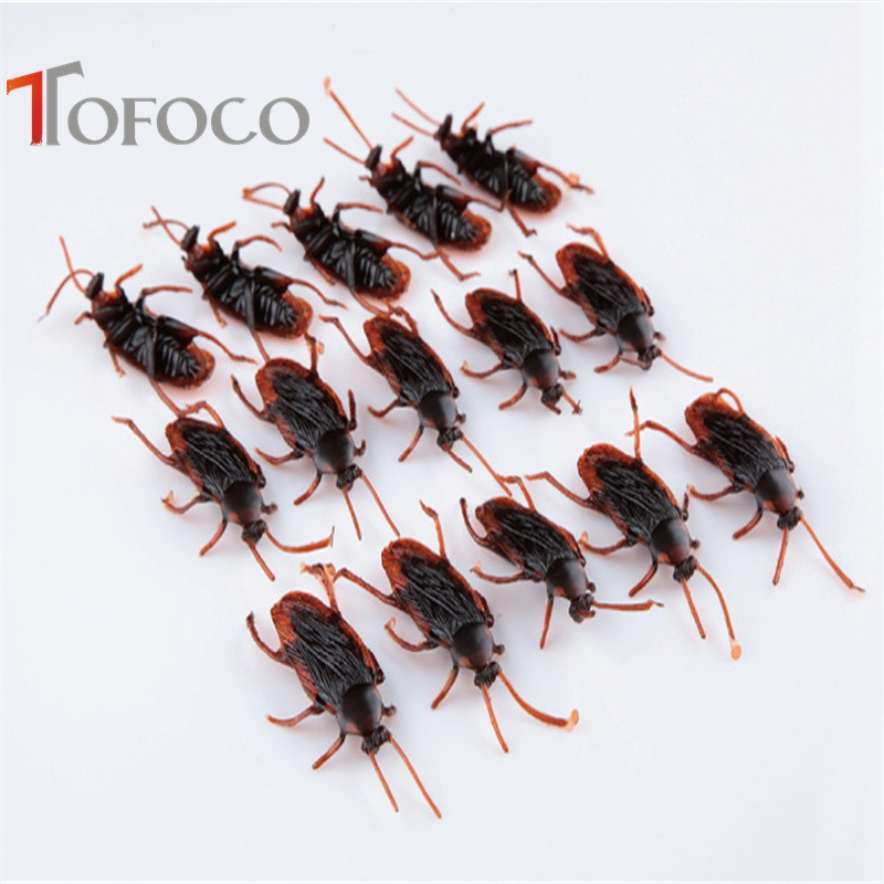 TOFOCO 10pcs Plastic Prank Novelty Cockroach Gags & Practical Jokes Toys April Fool's Day Halloween Tricky Toy Funny Bug Roaches