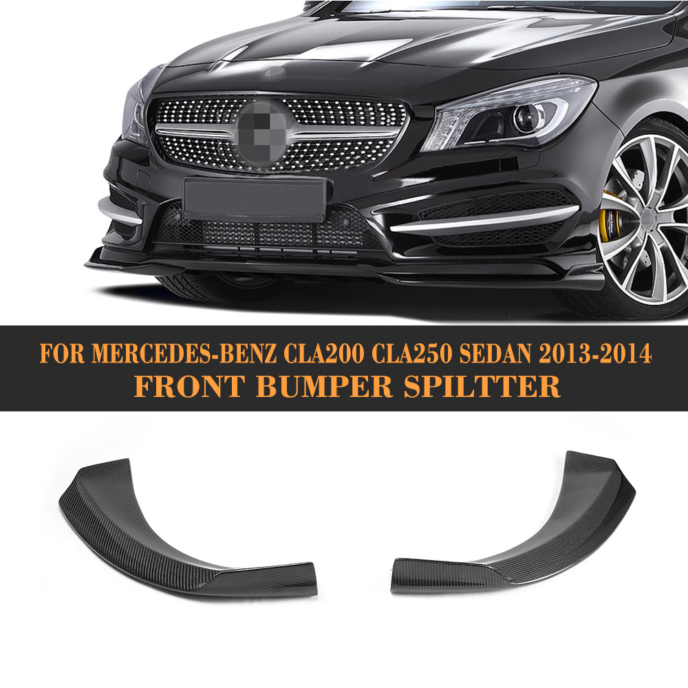CLA Class Carbon Fiber front bumper splitter car side splitters For Mercedes Benz C117 Sedan 4 Door 13-14 Non AMG CLA250 CLA200 цена