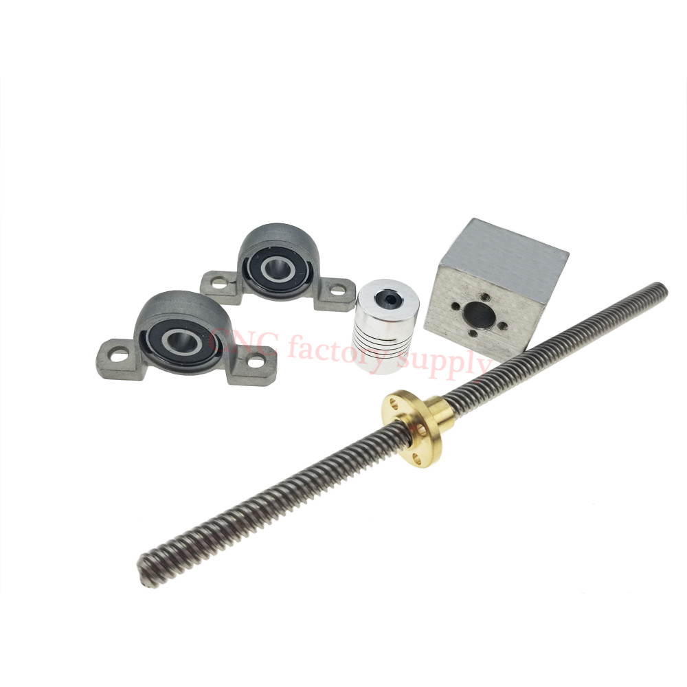 3D Printer T8-500 Stainless Steel Lead Screw Set + KP08 + Shaft Coupling+nut housing Dia 8MM Pitch 2mm Lead 2mm Length 500mm 500 8mm t8 linear guide rails shaft support stainless steel screw lead nut bearing blocks linear slide block set mayitr
