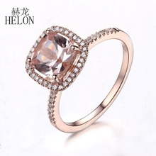 HELON Solid 10K Rose Gold Engagement Wedding 7x7mm Cushion Cut Morganite Pave 0.2ct Diamond Fine Jewelry Halo Ring