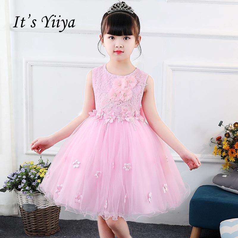 It's yiiya Sleeveless   Flower     Girl     Dress   Normal For Party Wedding   Girls     Dress   Princess Bow Lace Zipper Ball Gown Kids   Dress   S009