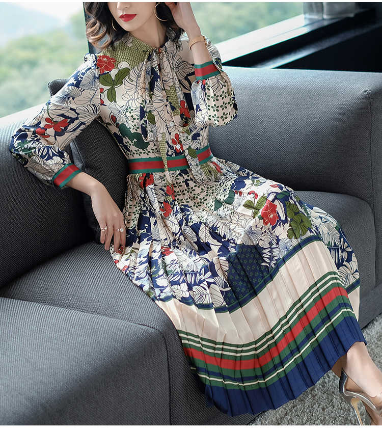 2019 חדש אביב סתיו אלגנטי גדול גודל נשים שמלת המותניים צרות דק תחרה קשת חג שמלת קפלים מזדמן Vestidos גותי
