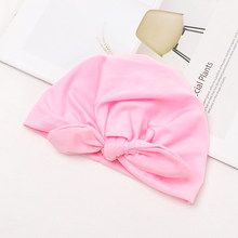 1 PCS Newborn Toddler Kids Baby Boy Girl Turban Cotton Bow knot Candy Solid Color Rabbit Ears Warm Beanie Cap Brand New Hot(China)