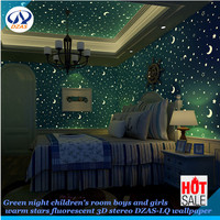 Children's room boys and girls warm stars fluorescent 3D stereo DZAS LQ wallpaper