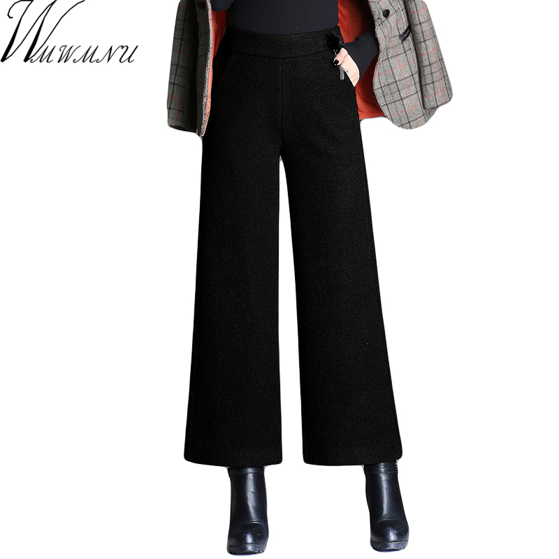 2018 Fashion Women thick   Pants     Wide     Leg     Pants   with woolen Trousers Women Loose Casual   Pants   big size 5XL Brown Black