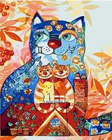 MaHuaf X983 Abstract Three Cats Animal Coloring By Numbers On Canvas Hand Painted Canvas Oil Painting