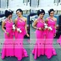 New 2016 Mermaid Bridesmaid Dress Fuchsia One Shoulder Beaded Chiffon Long Bridesmaid Dresses Cheap Wedding Party Gown