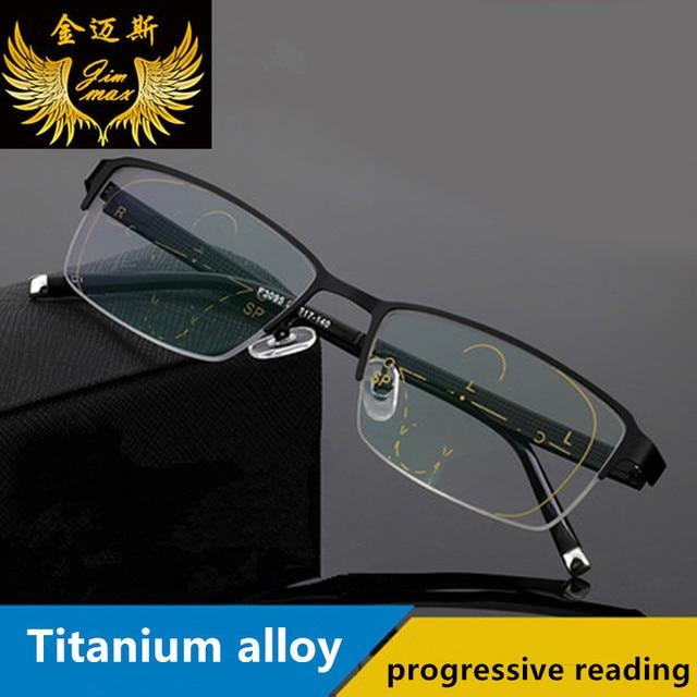 952b8007203 New Men s Titanium Alloy Quality Progressive lenses Reading Glasses Fashion  Square Half Rim Classic Multifocal Glasses