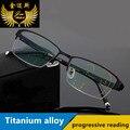 Novo titanium liga lentes progressivas óculos de leitura de moda de qualidade dos homens praça metade rim óculos multifocais clássicos para homens