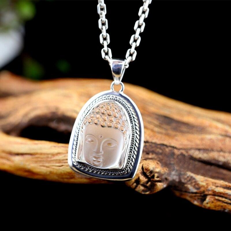 925 sterling argent mosaïque blanc naturel cristal Shakyamuni pendentifs simple mode Shakyamuni pendentifs pour femmes homme bijoux