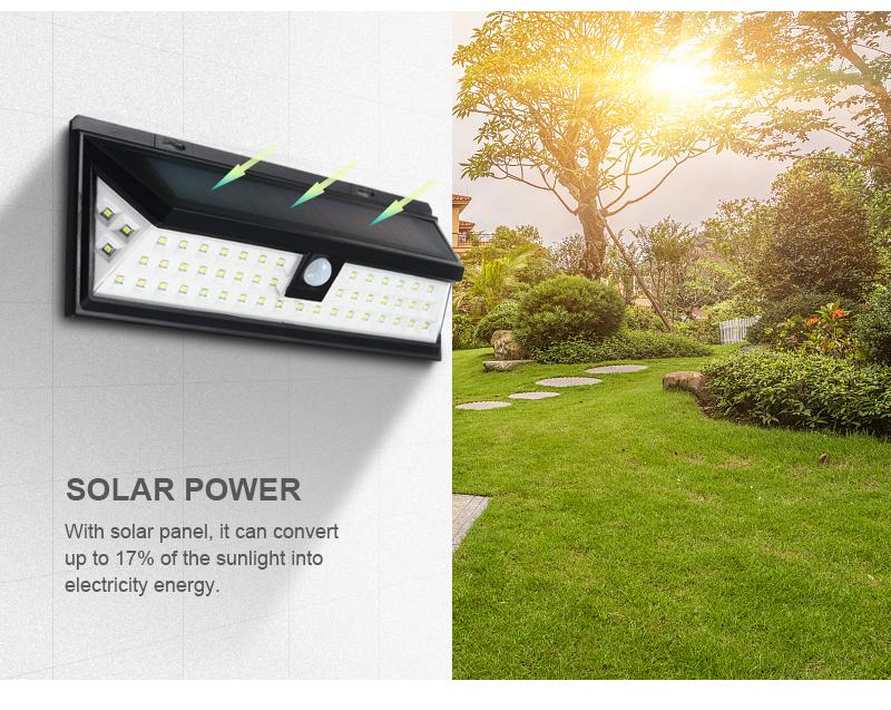 Mising Wodoodporna 54 LED Solar Light 2835 SMD Biały Słoneczna moc Na Zewnątrz Ogród Ścieżka Światła PIR Czujnik Ruchu Kinkiet 3.7 V 8