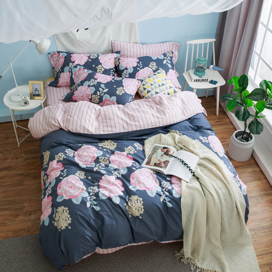 100 cotton flowers duvet cover set for adults queen king size bedding sets for home