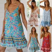 Summer Beach Dress Elegant Vintage Kwaii Red Floral Tunic Cami Dress Boho Casual Off Shoulder Mini Dress Bohemian Fall 2019