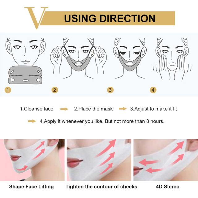V Line Mask 4d Face Lifting Mask Miracle V-shaped Slimming Mask Double Chin Reducer Lift Patch V Shape Face Firming Tool 4