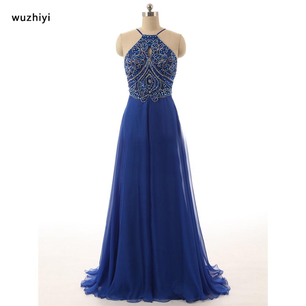 wuzhiyi vestidos de gala  prom dresses 2017 Beading Crystal Chiffon Gowns Silver Prom dress vestido formatura ballkleider New