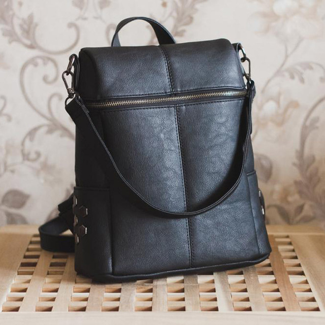 Simple Style Backpack Women PU Leather Backpacks For Teenage Girls School Bags Fashion Vintage Solid Black Shoulder Bag XA568H 1
