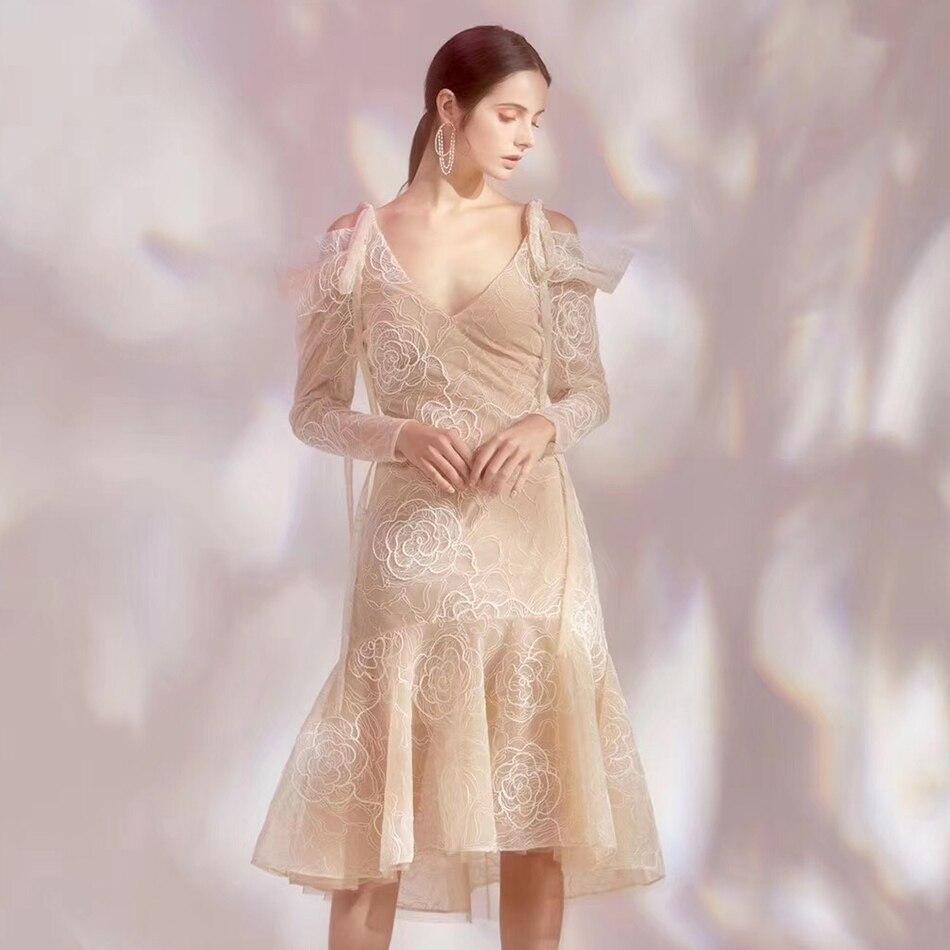 ADYCE Лето 2019 г. для женщин Bodycon кружево знаменитости Вечеринка платье пикантные миди с длинным рукавом Русалка Глубокий V клуб платья для