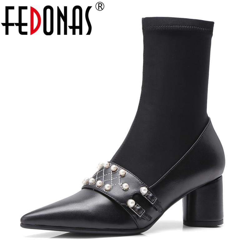 FEDONAS Punk Women Genuine Leather Ankle Boots Beading Night Club Party Shoes Woman High Heels Warm Socks Boots Ladies Pumps fedonas brand women ankle boots punk high heels metal decoration party night club boots genuine leather martin shoes woman