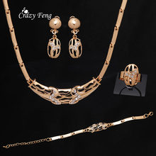 Luxury Women Wedding Bridal Jewelry Accessories Necklace Earrings Gold-color Crystal Geometric Bracelet Ring Jewelry Set(China)