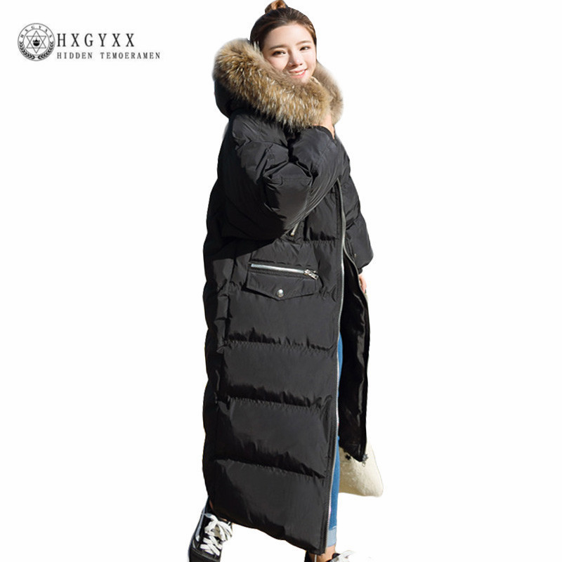 Winter Coat Women Raccoon Fur Collar Hooded Long Jacket Thicken Warm Korean Padded Parkas 2017 Oversized Military Parka Okb228 цены онлайн
