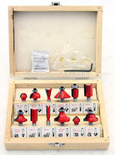 12PCS 1/4 Shank Diameter, TCT Tungsten Carbide Tipped Router Bit Set in a Wooden Box