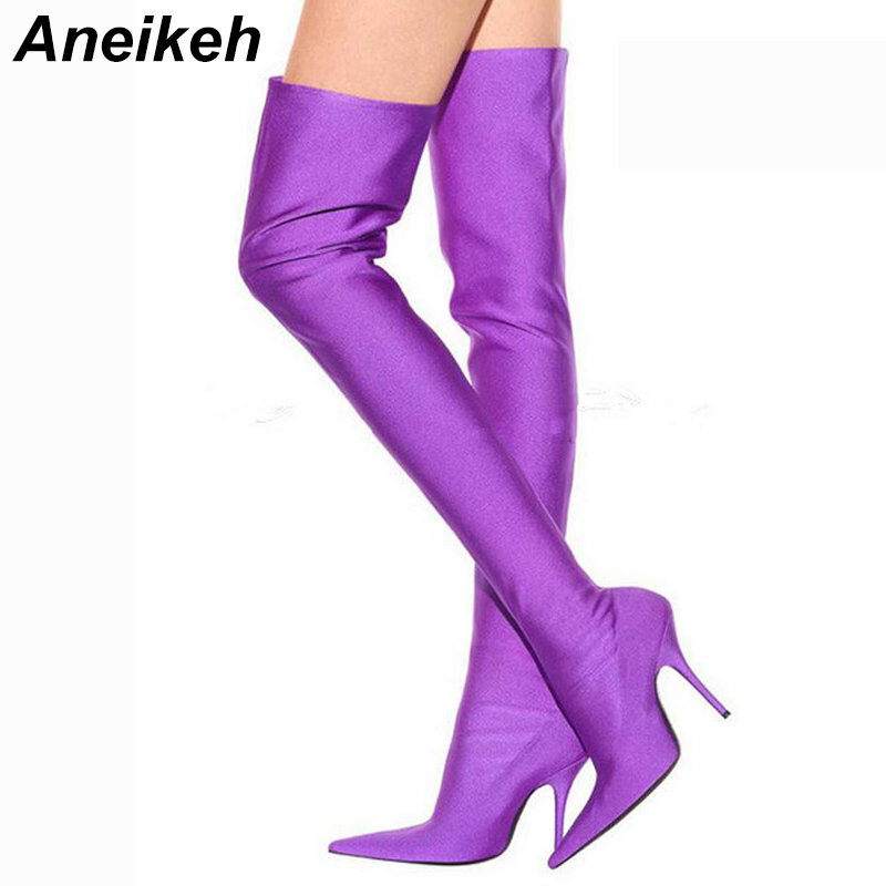 fcd16fbbb623 Aneikeh Latest 2018 Spring/Autumn Sexy Thigh High Boot Satin Stretch Elastic  Over The Knee Sky Slim High Heels Long Booties Shoe