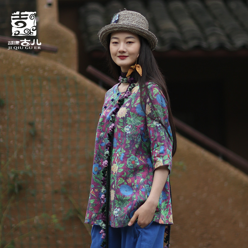 Jiqiuguer Ethnic Women's Wear Retro Cotton and Linen Blouse Literary Printing Ramie Plate Button Top Female G191Y056