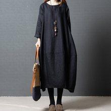 3ed86e73d الكورية الصلبة المرأة بسيط فضفاض اللباس الكورية كبير بأكمام طويلة الصلبة  الأسود فستان طويل السترة جيب
