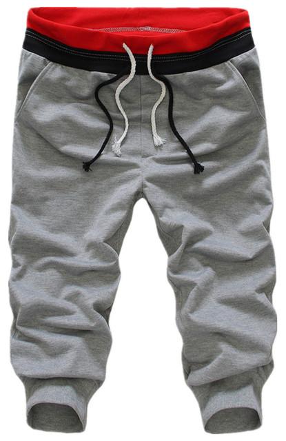 Mens Pantalones Cosechados Pantalones Ocio Sweatpant Diseño Clásico brazalete reproducción Hit Color Parcheado