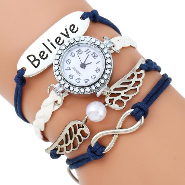 89741763c45 Gnova Platina Paracord Bracelet Watch Charme Anjo Asas Acredite Vintage Da  Moda Strass Relógio de Pulso