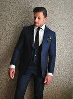 2017 Italian Style Navy Blue Groom Tuxedos Custom Made Slim Fit Mens Wedding Party Suits Bridegroom Suit(Jacket+Pants+Vest)terno