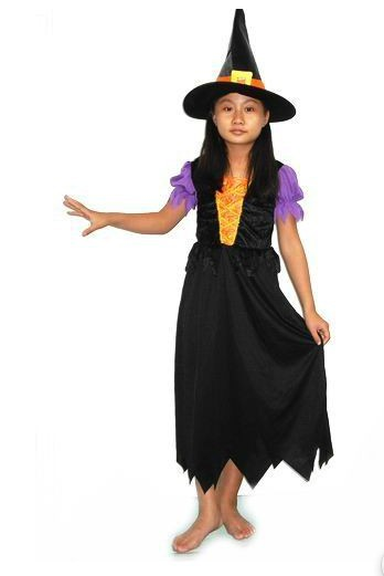 children cosplay costume lovely purple dress little witch costume for 7 10 year old girl - Halloween Supply Store