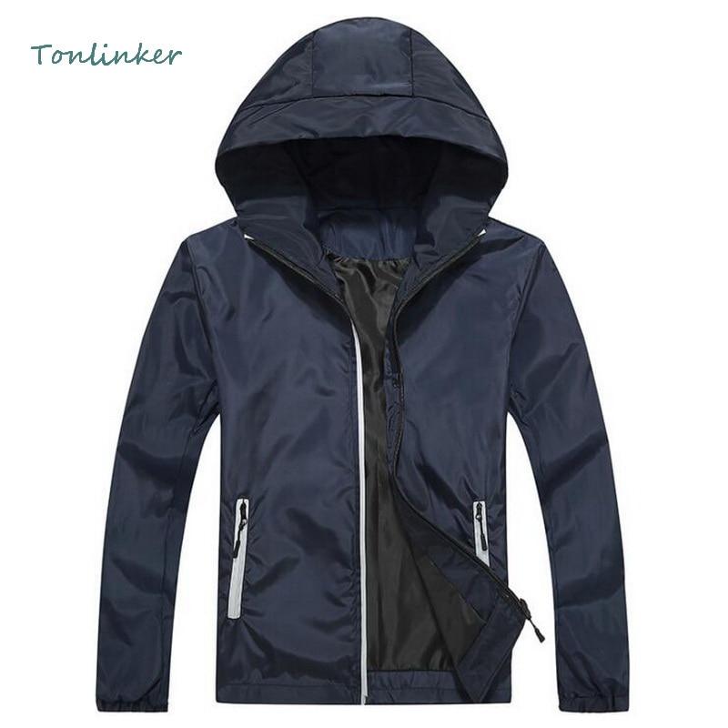 Tonlinker 2018 New Hooded Fashion Jacket Spring Autumn Bomber Reflective Casual Men Waterproof Coat