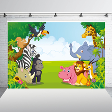 HUAYI 5x7ft Jungle Safari Themed animals birthday party banner photo background Baby Kids Portrait Party Backdrop XT-6521