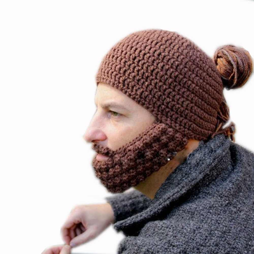 f8b3615849d ... BomHCS Funny Winter Warm Beard Hats Cosplay Roman Knight Knit Helmet  Original Barbarian Handmade Beanies Men s