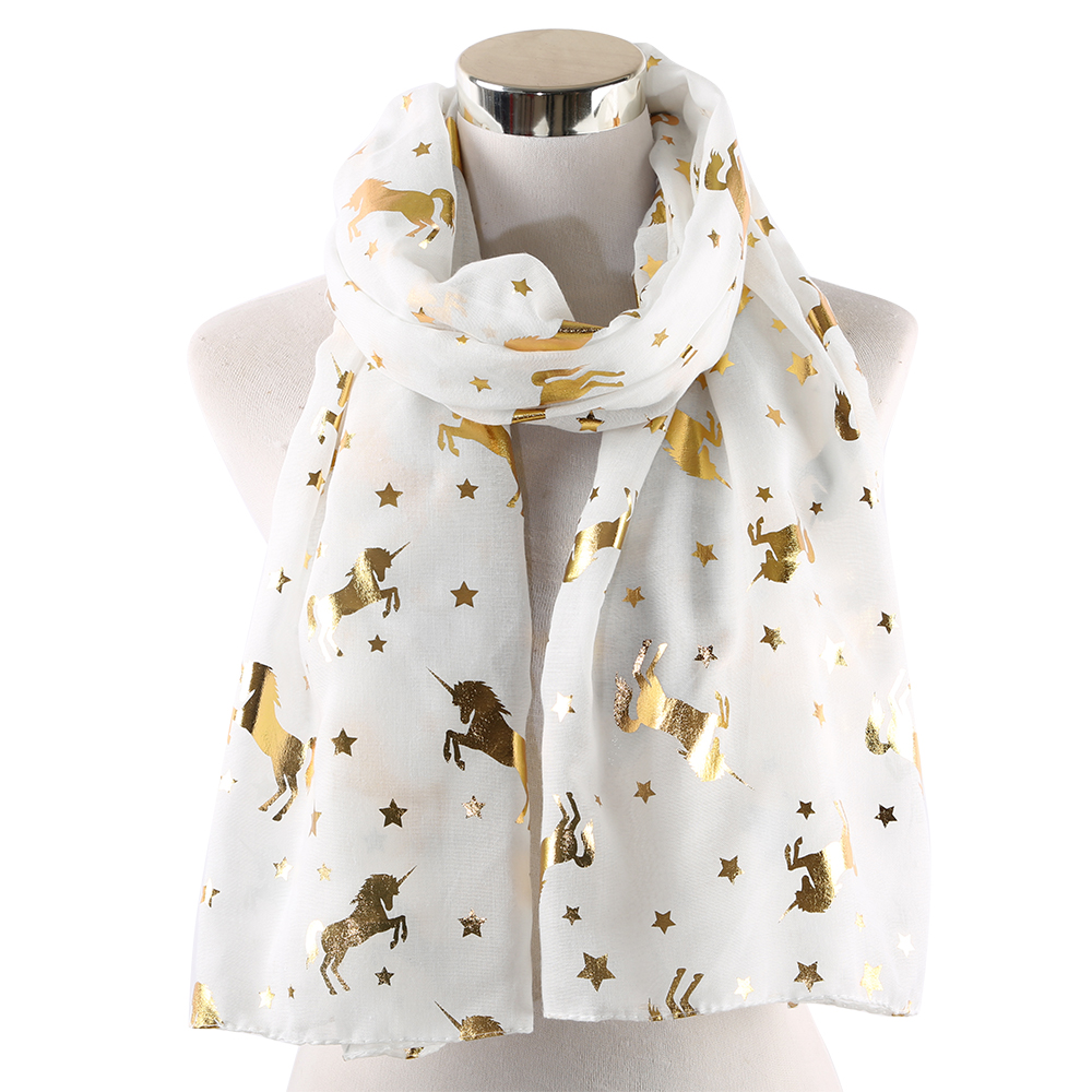 Winfox Shiny Glitter Foil Gold Star Beach   Scarves     Wrap   Shawl Stole Ladies White Pink Animal Unicorn Scarfs Horse Women