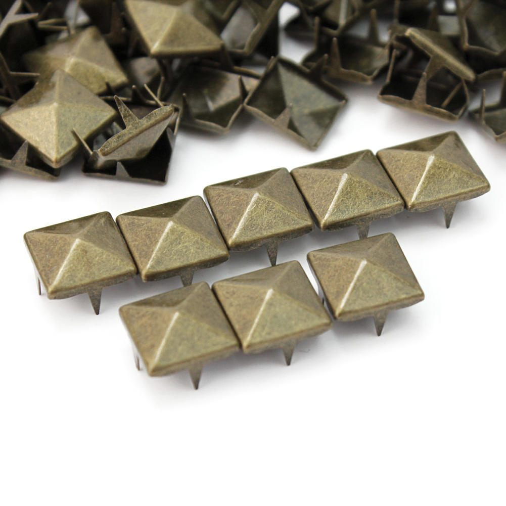100pcs Lot Punk Rock Bronze 10mm Pyramid Studs Nailheads Rivets Spikes Leathercraft Diy