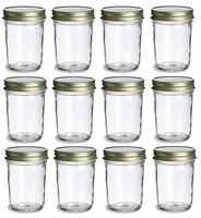 Tarros de vidrio Mason Jam con tapas, paquete de 12 unidades, 200ML