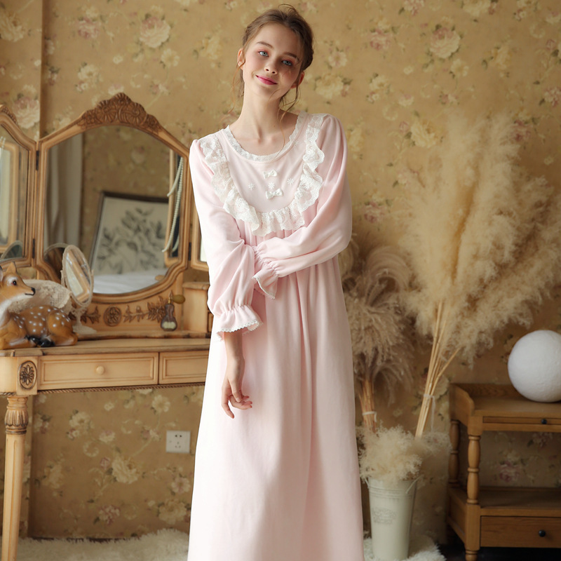 Autumn Winter Vintage Nightgowns Pregnant Women Dresses Princess Sleepwear Solid Lace Home Dress Comfortable Nightdress CA537 lace jacquard spliced chiffon bohemian v neck short sleeve dress for women