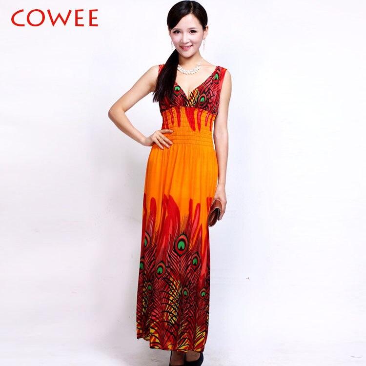 2018 Nové dámské dlouhé večerní Bohemia tisk Plus velké šaty Maxi šaty dámské šaty