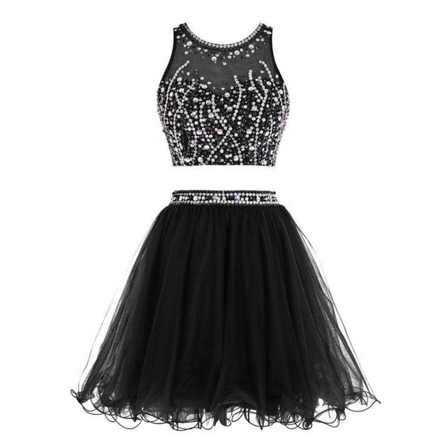 Two Pieces Prom Dresses Short Party Gown Little Black Dress Pearl ...