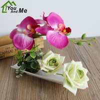 1 Set Artificial Silk Flower Butterfly Orchid Rose Bonsai White plastic Potted Wedding Party Christmas Home Decoration