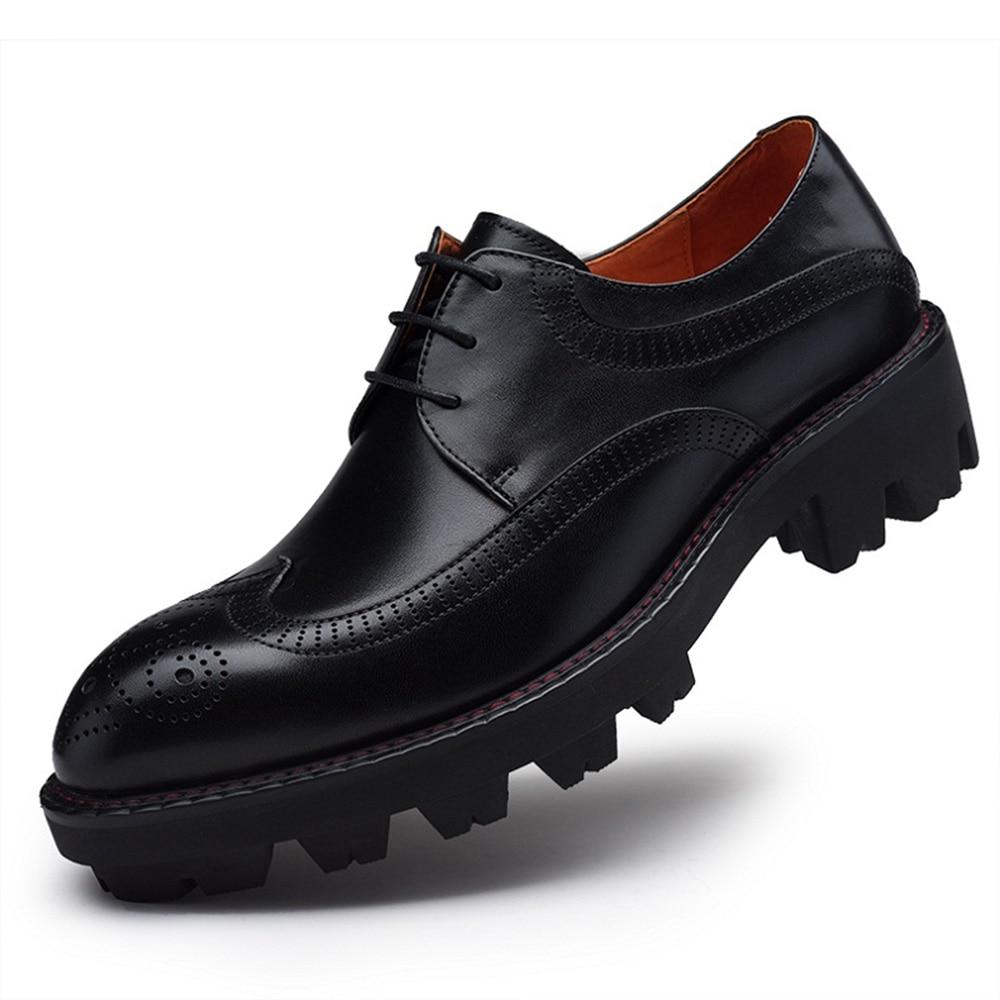 c75c9a86ea2ffe Sipriks Mens Genuine Leather Shoes Thick Rubber Sole Brogue Dress Shoes  European Pure Leather Shoes Men Elevator Shoes Imported