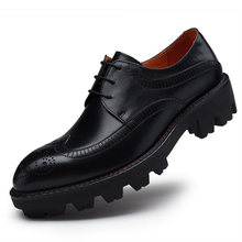 Sipriks Mens Genuine Leather Shoes Thick Rubber Sole Brogue Dress Shoes European Pure Leather Shoes Men Elevator Shoes Imported(China)