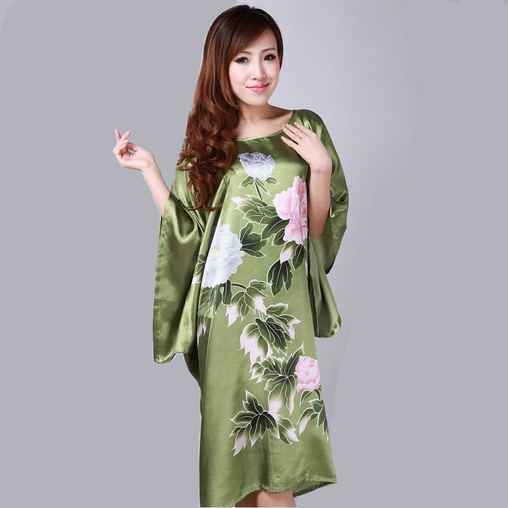 Novelty Green Chinese Female Floral Nightgown Lady Faux Silk Home ...