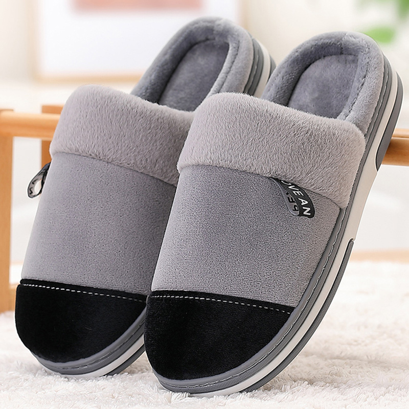 Winter Men Slippers Non Slip Keep Warm House Shoes For Male Soft Velvet Home Slippers Mens Memory Foam Sturdy Sole