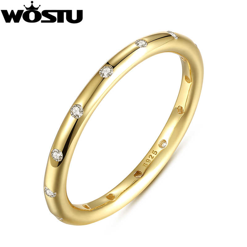 2019 New Real 925 Sterling Silver Droplets Stackable Anniversary Rings Polished Gold Color For Women  Fine Jewelry XCH7141