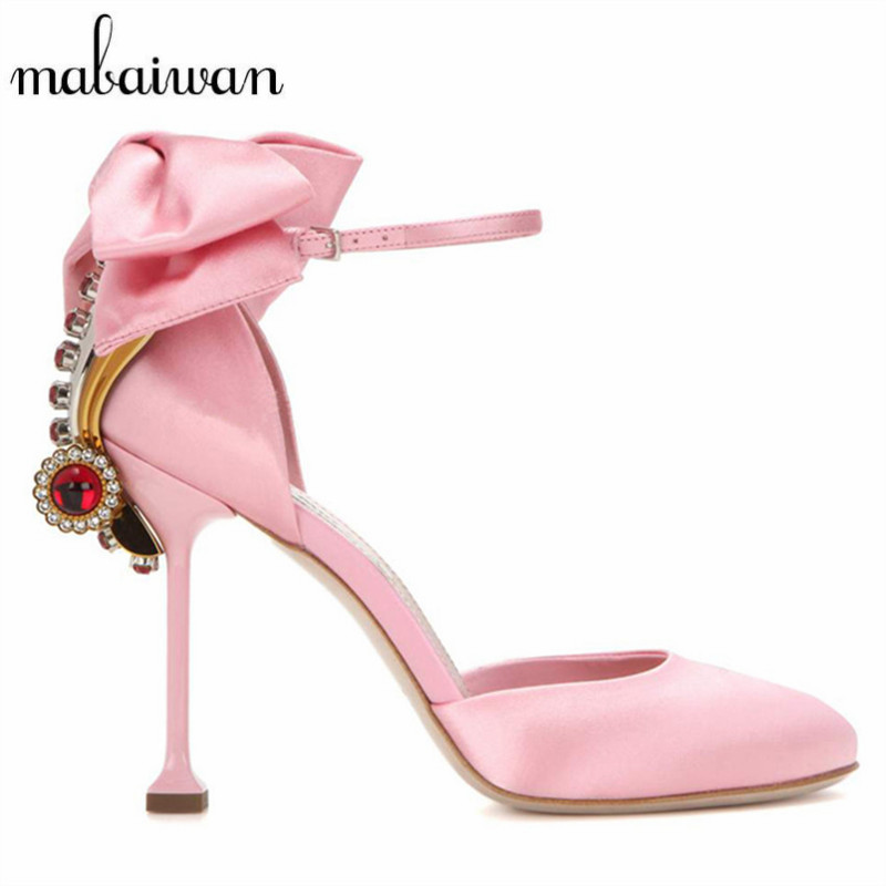 ФОТО Cute Pink Summer Women Sandals Bowtie Rhinestone Decor Mary Janes Women Pumps Prom Wedding Shoes Woman Gladiator High Heels