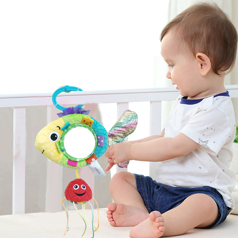 New Hot Car Seat Back Fish Mirror Infant Stroller Hanging Educational Newborn Toy Baby Rattles Toy Stuffed Plush Toddler