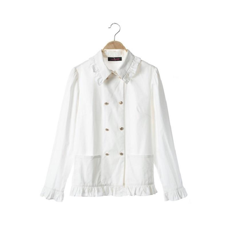Femmes Noël Pardessus Boutonnage Jacket Vêtements Élégante Designer Manteau De Veste Lâche Blanche Poche Hiver pants Piste Double 2019 Femelle pgq1g